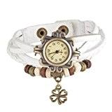 Souarts Femme Bracelet Montre Vintage Retro tisser autour Bracelet Clover Décor