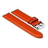 StrapsCo Bande pour Montre Orange Texturé en Cuir 22mm