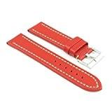 StrapsCo Bande pour Montre Rouge en Cuir Taille 20mm