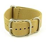 StrapsCo Beige 16mm Argent mat 5-ring en nylon balistique G10NATO Zulu Bracelet de montre