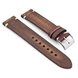 StrapsCo Extra Long Noir délavé style vintage bracelet de montre 22mm