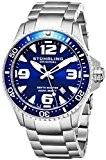 Stuhrling Original Ltd Édit. Montre Suisse quartz 200 M. Bleu Foncé pour Plongée Pro Hommes Étanche Cliquet Unidirectionnel Bracelet en ...
