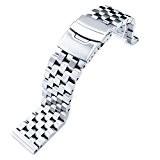 Super Engineer Type II Bracelet de montre en acier inoxydable massif Extrémité droite avec bouton poussoir 22mm