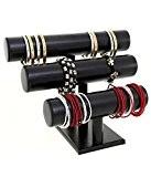 Support montres, porte bracelets ou montres joncs (3 rangs) Simili cuir - Noir (L) 29 x (H) 21 cm