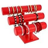 Support montres, porte bracelets ou montres joncs (3 rangs) Simili cuir - Rouge (L) 29 x (H) 21 cm