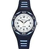 Tekday - 653492 - Montre Enfant - Quartz Analogique - Cadran Blanc - Bracelet Plastique Bleu