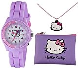 Tikkers Hello Kitty Fille Lilas Coque en caoutchouc de silicone Sangle Time Teacher montre, Sac à Main et collier Ensemble – Ahk032