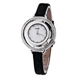 6e9b2e5226611 Time100 Montre à quartz femme incrustée de strass squelette mode légère de  luxe bracelet noir en
