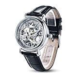 Time100 Montre Couple Mécanique Automatique Squelette Cuir Véritable pour femme #W60026L.01A