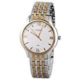 Time100 Montre couple mode simple blanche et or chiffres romains bracelet en acier inoxydable pour homme #W80061G.03A