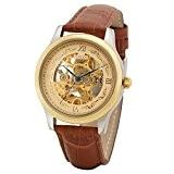 Time100 Montre homme automatique squelette mécanique de luxe bracelet en cuir véritable marron W60015G.02A