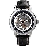 Time100 Montre Mécanique Automatique Squelette Cuir Véritable Noire pour homme W60059G.03A