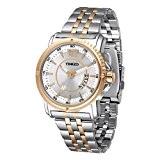 """Time100 Montre quartz homme mode loisir or rose calendrier aiguilles lumineuses classique de """"gentleman"""" fluorescente bracelet en acier inoxydable bicolore ..."""
