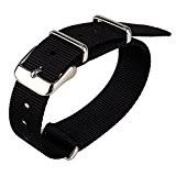 Tissu en nylon noir 18mm Largeur bricolage remplacer Montre bracelet bande de montre