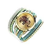 Tonsee® Jeune fille éléphant Rivet Bracelet Quartz enroulement tressé Wrap montre-bracelet