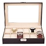 TRESKO® Boîte à montres Écrin à montres Coffret à montres Présentoir à montres, pour le voyage, cuir synthétique, noir, 12 ...