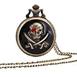 UQ Montre de poche-Chaîne-A5 W142-Bronze-Squelette Pirate