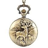 UQ Montre de poche-Homme/ Femme/ Enfant-B5 B054-Chaîne-Bronze-Cerf
