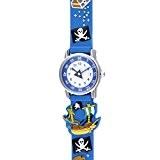 VIKI LYNN - Montres Enfants Garçon - pirate 3D - Quartz Analogique- Rond Cadran -Coloré Bracelet caoutchouc-Multicolore Bleu