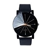 Vovotrade Mode Montres cuir femmes Stainless Steel Men quartz analogique montre-bracelet