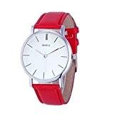 Vovotrade nouvelles femmes Retro Design bande de cuir analogique en alliage montre-bracelet à quartz_Rouge