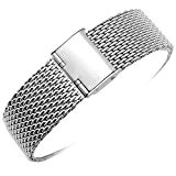 Yisuya Bracelet de montre, 20mm Milanais à maillons Acier inoxydable, massif, avec fermoir à clip Argent poli 2cm