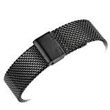 Yisuya Bracelet en maille milanaise en acier inoxydable massif avec crochet et boucle Noir 22mm