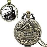 Yisuya Bracelet rétro Bronze Full Hunter Coque Locomotive train Tête avant montre de poche avec chaîne pendentif Collier homme garçons ...