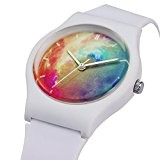 Zeiger Montre Enfant Quartz Analog - Time Teacher - Fille Garcon - Blanc Caoutchoc Bracelet Bande - Multicolore Dial